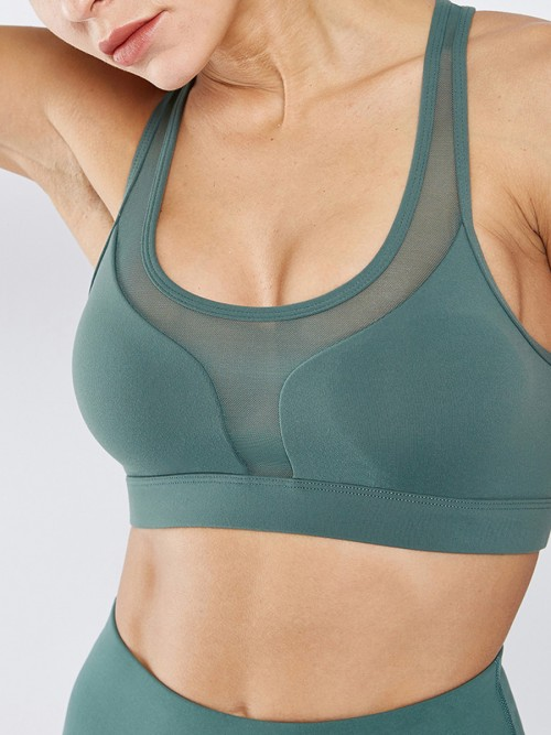 Charming Green Mesh Patchwork Sport Bra Hollow Out Workout