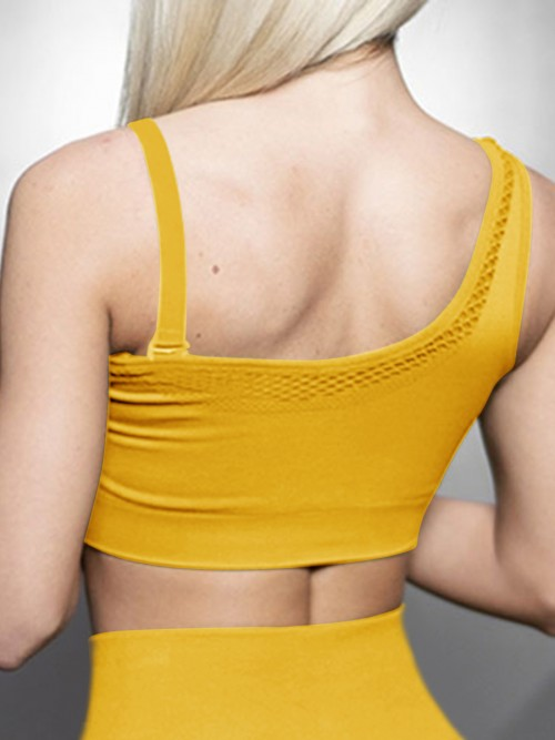 Soft Gold One Shoulder Sports Bra Mesh Seamless Cool Fashion