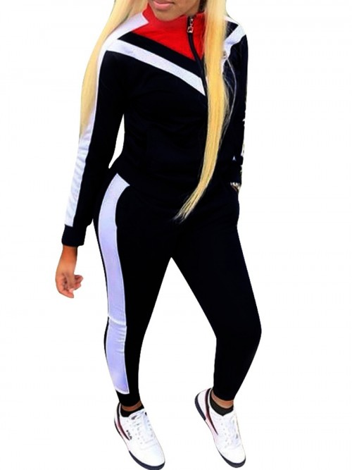 Sensual Curves Black Long Sleeves Sweat Suit Zipper Big Size For Lounging