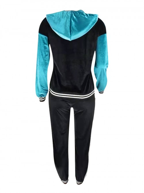 Ultra Cheap Blue Zipper Sweat Suit Drawstring Hooded With Stylish Design