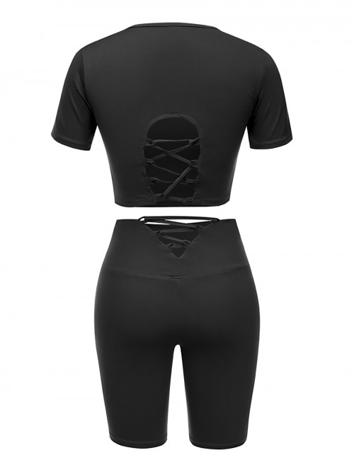 Black Solid Color Sweat Suit High Rise Running Clothes