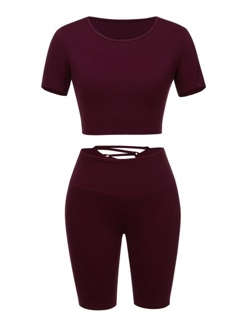 Purplish Red Sweat Suit Round Collar Pockets Workout Clothes