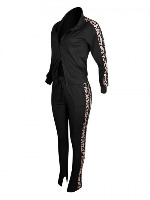 Dainty Black Leopard Patchwork Sports Suit Front Zip For Firl Runner