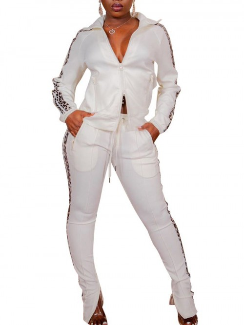 Stretch White Leopard Printed Top And Sports Pants Aerobic Activities