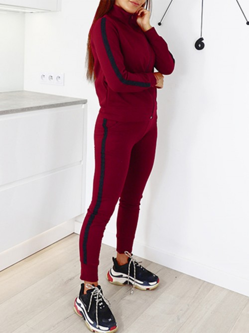 Explorer Red Zip Full-Length Sweat Suit Patchwork Stretchy