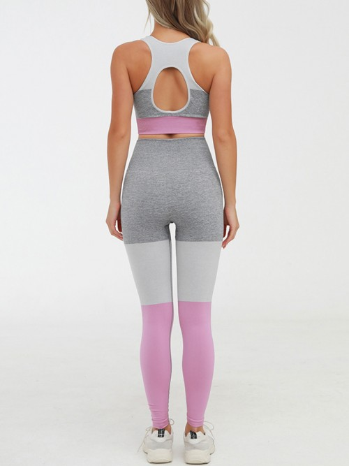 Captivating Pink High Rise Yoga Suit Seamless Cutout Outdoor