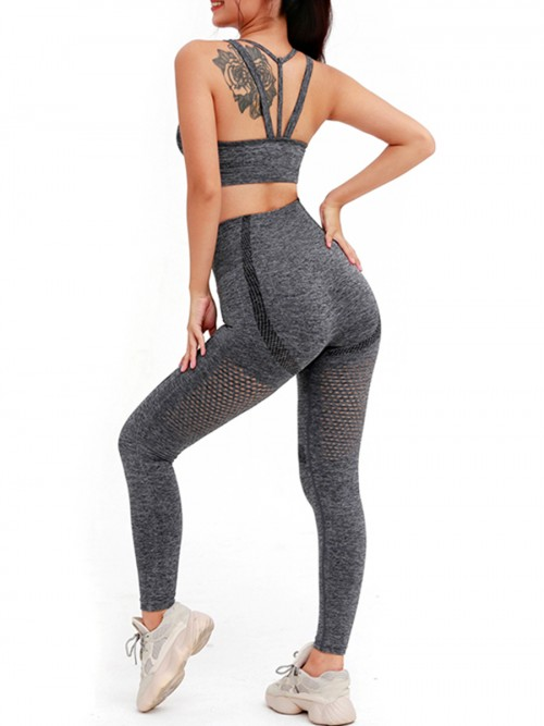 Simply Dark Gray Wide Strap Top High Rise Leggings Ultimate Comfort