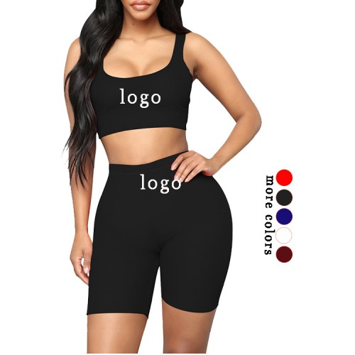Black Training Suits High Waist Scoop Neck Workout Activewear