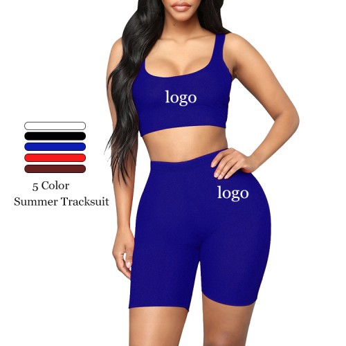 Royal Blue Solid Color Tight Sweat Suit High Rise High Elasticity