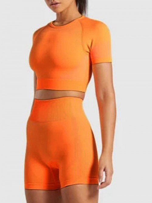 Creative Orange Colorblock Sport Two-Piece Seamless Exercise
