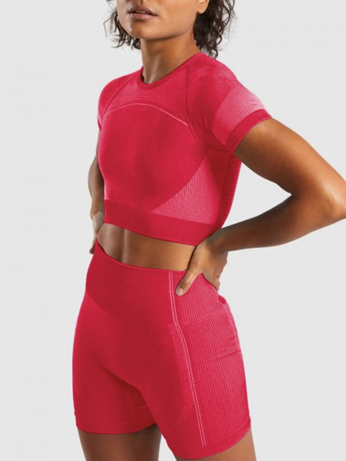 Delightful Rose Red Cutout Back Sports Suit Round Neck