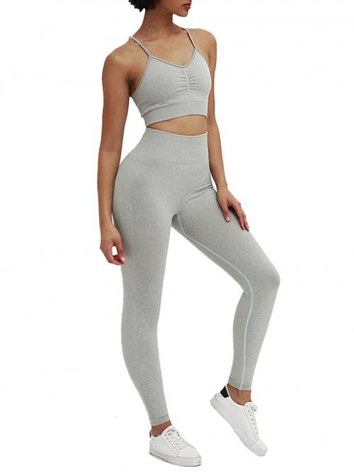 Modern Fit Light Gray Ruched Ankle Length Training Suits Feminine