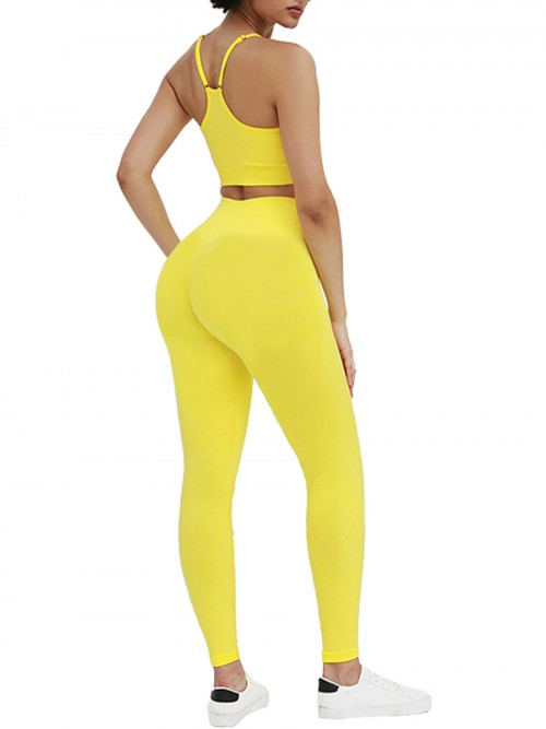 Female Yellow Wide Waistband Seamless Sweat Suit Nice Quality