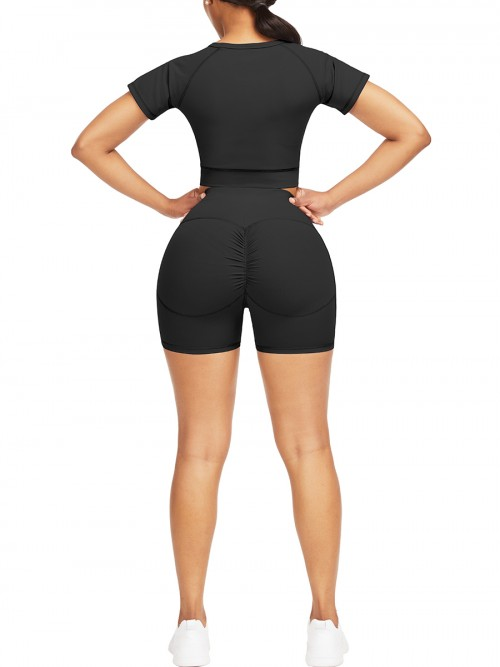 Naughty Black Solid Color Round Collar Sweat Suit Athletic Apparel