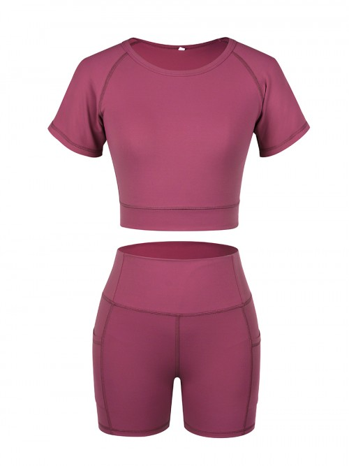 Fashionable Rose Red Sports Suit Short Sleeve Side Pocket Ladies
