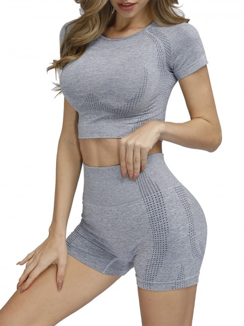 Powerful Gray Cropped Top Double-Layer Shorts Superior Quality