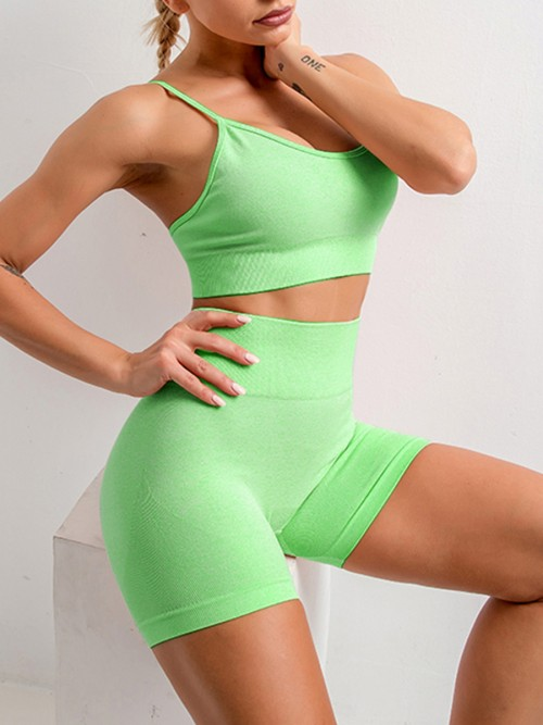 Fantasy Green Seamless Spaghetti Strap Crop Sports Suit For Warmup