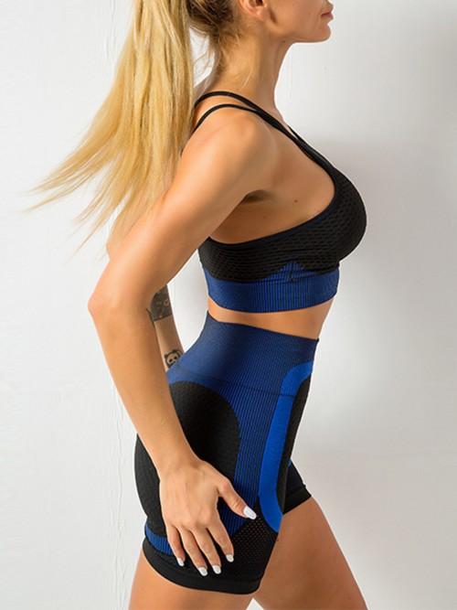 Brilliant Blue Hollow Out Open Back Running Suit Leisure Wear