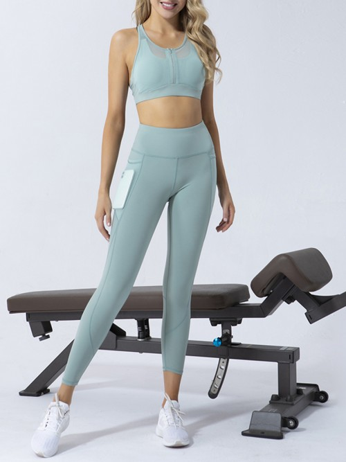 Dreamlike Green Zipper Sports Bra High Waist Leggings Fitness