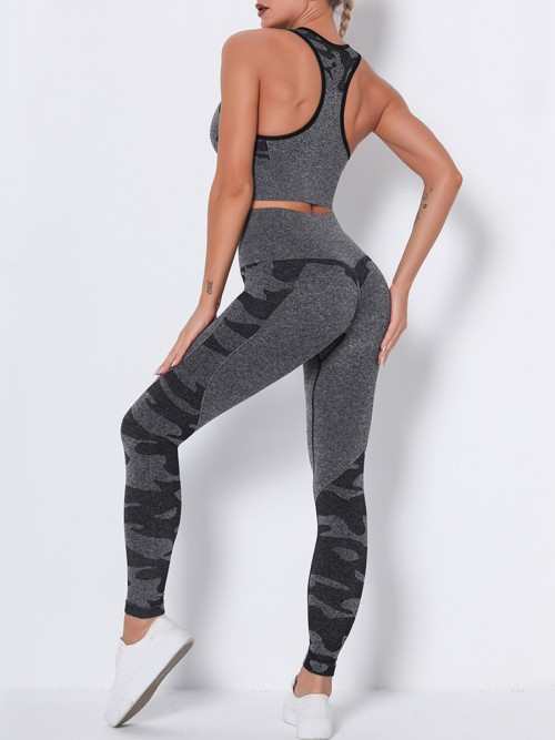 Black Seamless Racerback High Waist Sweat Suit Workout Clothes