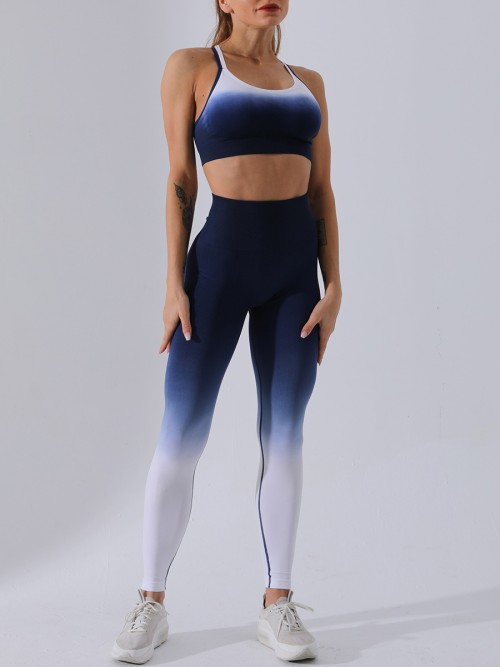 Body Sculpting Blue Sports Suit Open Back High Rise Casual Clothing