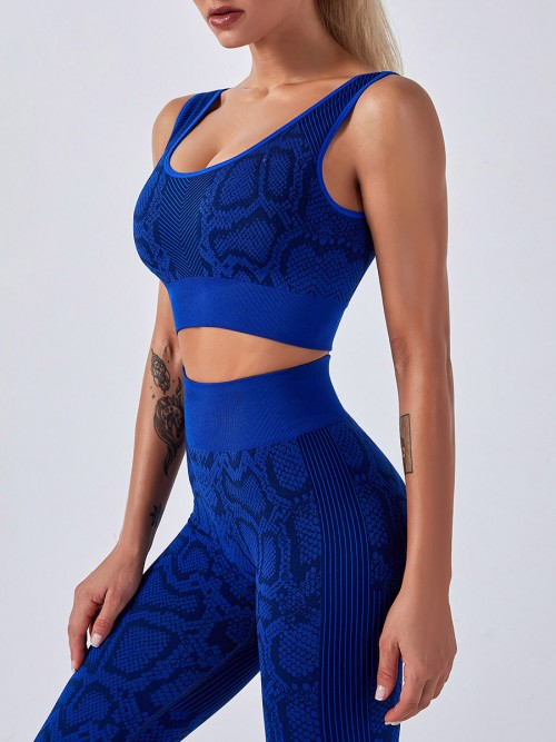Deep Blue Seamless Snakeskin Yoga 2 Piece Outfits Women's Clothes