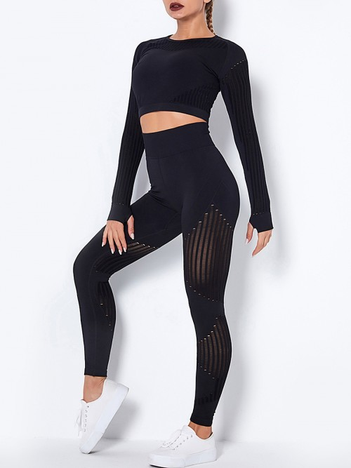 Black Seamless Knit Yoga Suit With Thumb Hole High Elastic