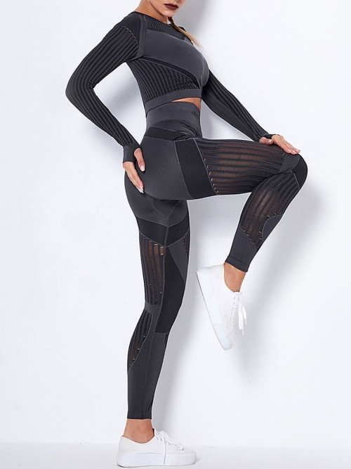 Deep Gray Knit Seamless Yoga Top High Waist Legging Comfort