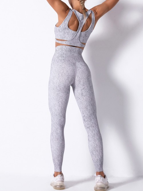 Gray Detachable Pad Cutout U Neck Yoga Suit Ultimate Comfort