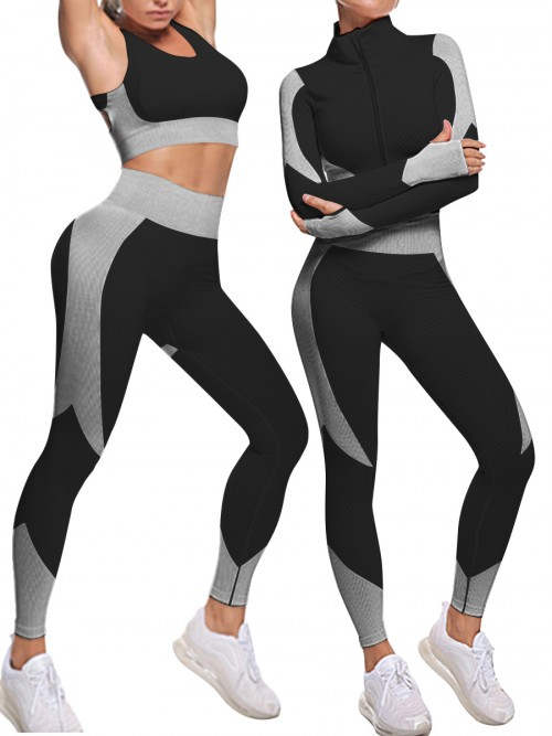 3 Pcs Sweat Suit White Wide Waistband Contrast Color Unique Fashion
