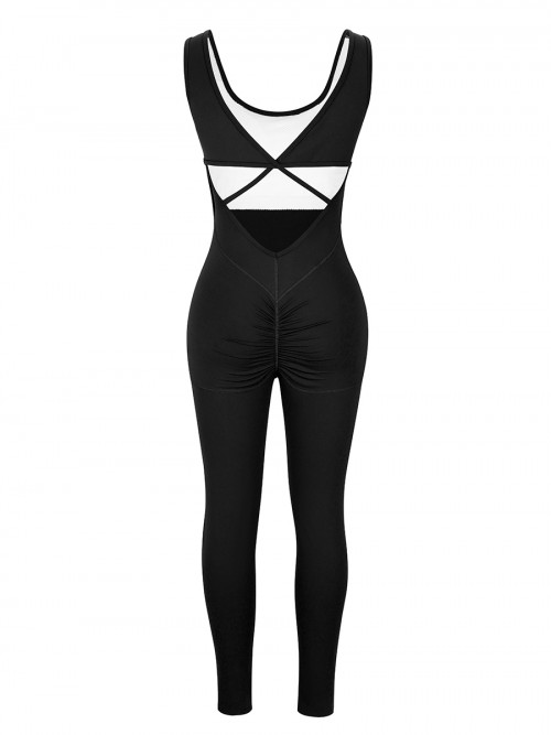 Black Running Bodysuit Wide Strap Ankle Length For Women