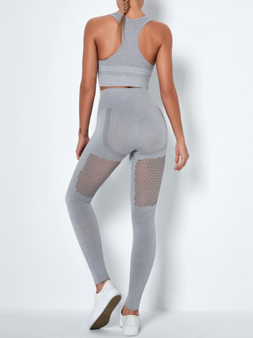 Light Gray Mesh Splice Seamless Yoga Suit U Neck Preventing Sweat