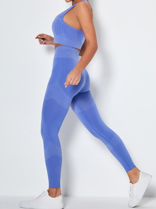 Royal Blue Back Punch Seamless Yoga Suit High Rise High Quality
