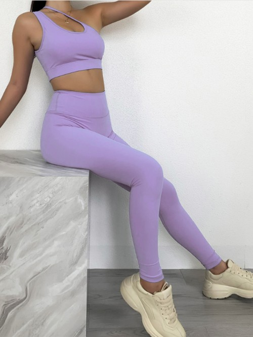 Purple Seamless Hollow Out Solid Color Yoga Suit Training Apparel