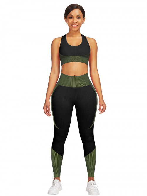 Compression Green Seamless Contrast Color Athletic Suit Workout Apparel