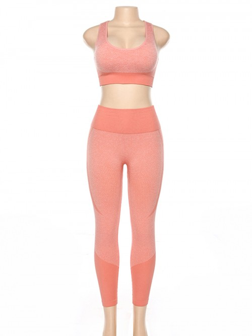 Curve Smoothing Pink High Waist Sweatsuit Splicing Cutout