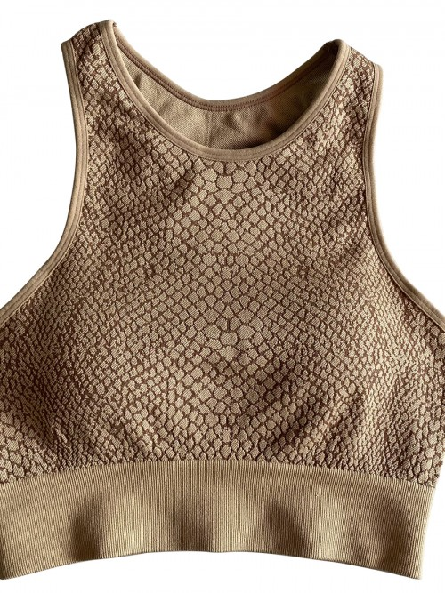 Coffee Color Athletic Suit Wide Waistband Snake Pattern Elastic