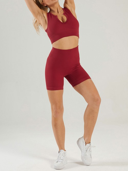 Wine Red High Waist Seamless Yoga Outfit Low-Cut Neck For Fitness