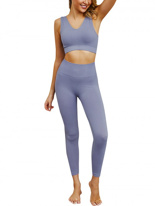 Island Paradise Light Blue High Rise Sweat Suit Seamless Crop Top Leisure Time