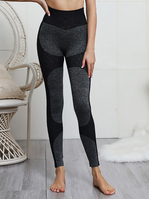 Brilliant Ribbed High Waist Black Knitted Yoga Legging For Woman