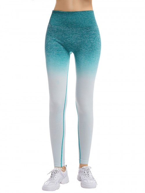 Powerful Blue Full-Length High Rise Sports Leggings Elasticity