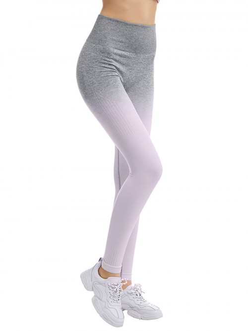 Durable Ankle Length Gradient Sports Leggings Super Sexy