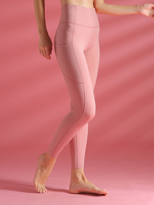 Exclusive Pink High Waist Athletic Leggings With Pockets Form Fitting