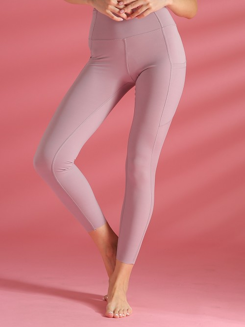 Body Sculpting Light Purple Elastic Plain Yoga Leggings High Rise