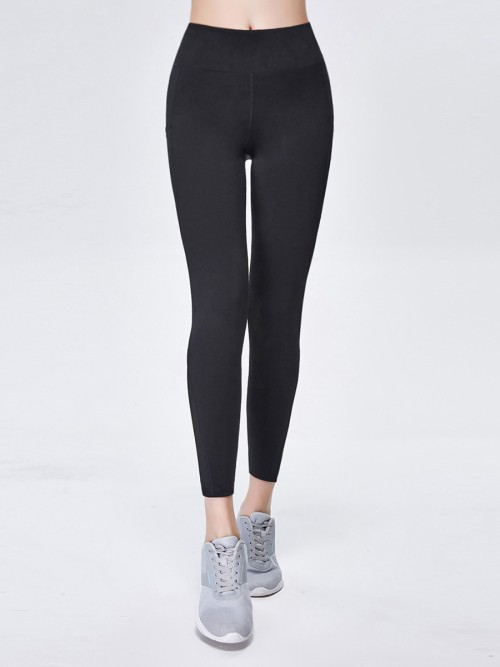 Super Black Plain Yoga Leggings Mesh High Waist Contouring Sensation