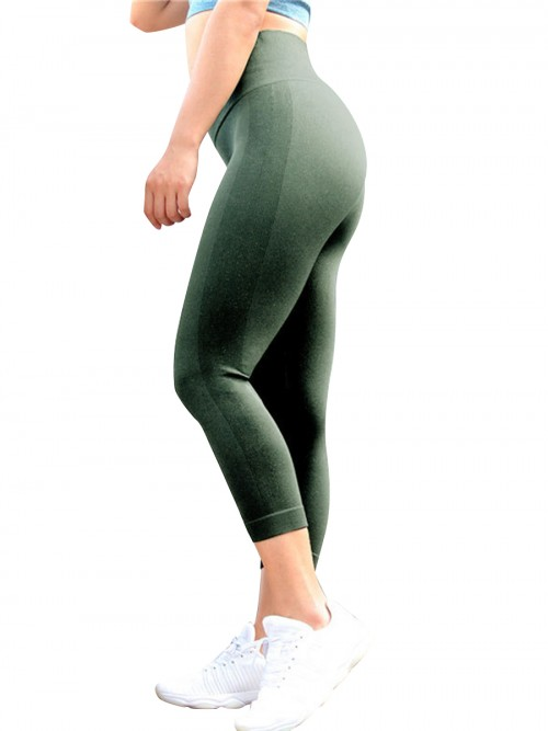 Super Sexy Army Green Yoga Pants 3/4 Seamless Tummy Control Fashion