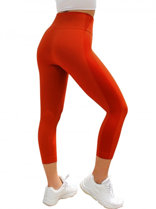 Cool Red Patchwork Seamless 3/4 Sports Legging Female Grace
