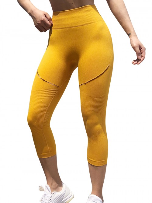 Ravishing Yellow Butt Enhancing 3/4 Yoga Pants Seamless Soft