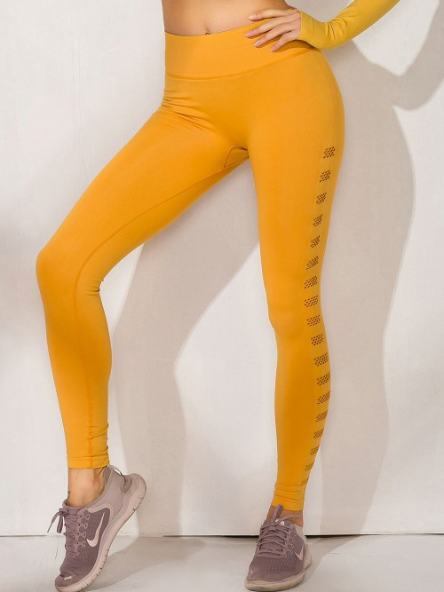 Elastic Gold Mesh Yoga Legging Seamless High Waist For Women Runner