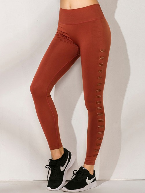 Young Lady Red High Rise Seamless Athletic Leggings For Sauntering